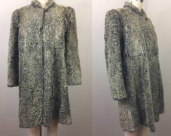 Vintage 40s Gray PERSIAN LAMB Fur Coat 1940s