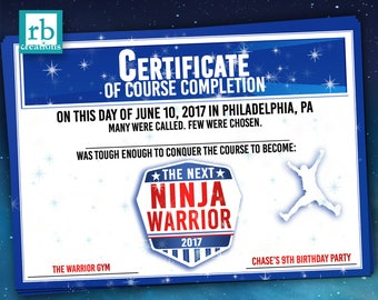 Ninja Warrior Party Favor Certificate, Ninja Warrior Birthday, ANW Birthday Party, Ninja Warrior Favor - Digital Printable