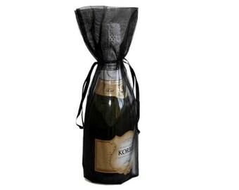 Black Bottle / Wine Organza Gift Bag