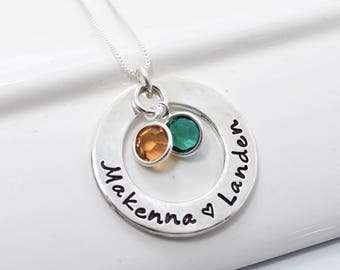 Personalized Mothers Necklace   Hand Stamped Jewelry   Sterling Silver Washer with Birthstones   Custom Jewelry