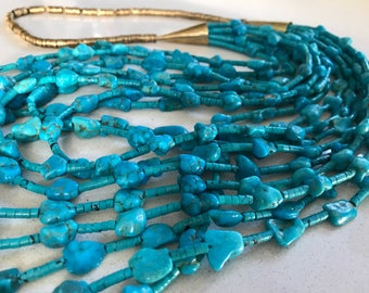 9 Strands Handmade Turquoise Necklace