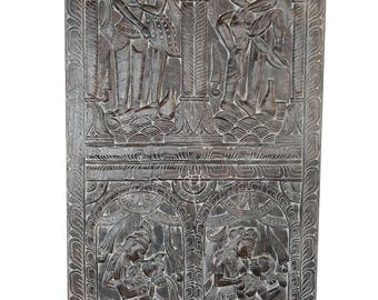 Divine Love Radha Krishna Vintage Kamasutra Hand Carved Panel, Wall hanging, Zen Decor
