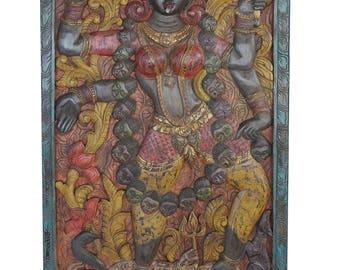 Indian Wall Sculpture Maa Kali shakti hand carved panel powerful goddess protector yoga meditation ,Wall Hanging Decor, Barn Door Free ship