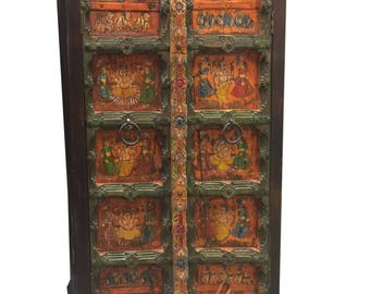 Antique Almirah Ganesha Hand Painted Storage Cabinet Hand carved Zen Decor FREE SHIP Early Black Friday