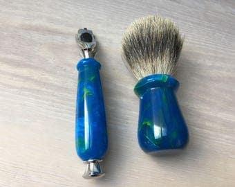 Razor and Shaving Brush set, Blue and green resin, Premium Badger Hair Shaving Brush, Safety, Fusion or Mach 3 Hardware