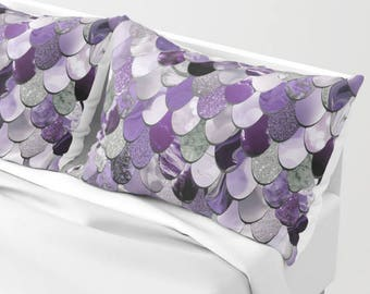 Mermaid Pillow Shams - Set of 2 - Mermaid Pillows - Available in Four Colors and Two Sizes