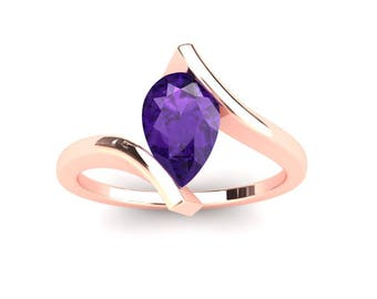 Amethyst Ring 1.00 Carat Pear Shape Amethyst Bypass Ring In 14k or 18k Rose Gold CF10PUR
