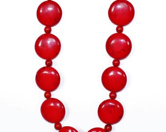 Red Magnesite Statement Necklace