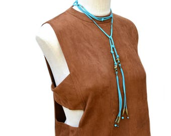 leather wrap choker / wrap necklace / turquoise choker / boho necklace / long boho necklace / suede leather choker / extra long necklace