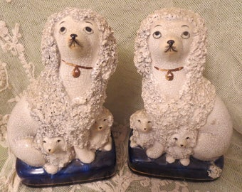Vintage Reproduction Pair Staffordshire Poodles & Puppies Rough Coat Vintage Bombay Company Dog Statues, Vintage Porcelain Poodle Dog Statue
