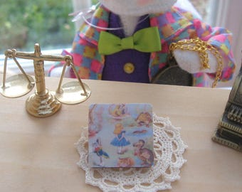 Dollhouse alice inspired wooden picture plaque wall art 12th scale miniature