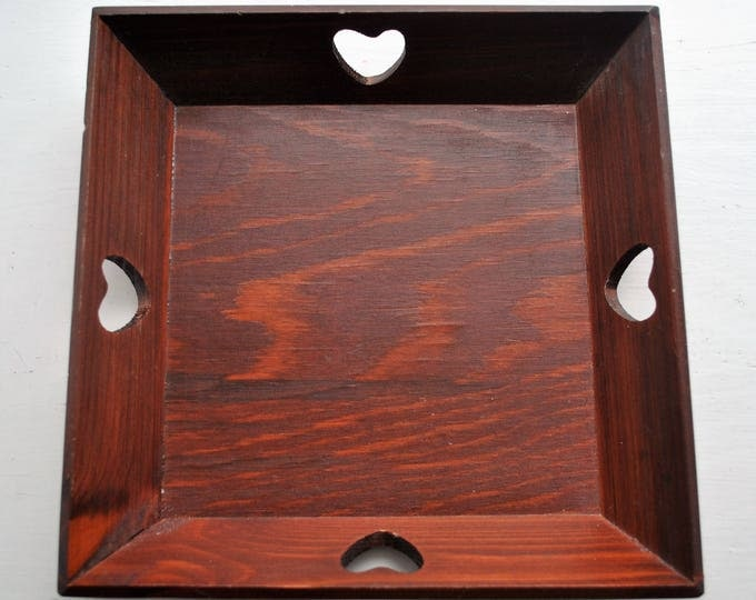 VIntage Swedish Wood Heart Tray Square Hand Carved