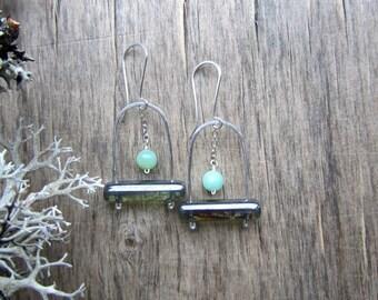 Mint green earrings Silver dangle earrings Sterling silver earrings Urban chic earrings Modern earrings Boho earrings Urban chic jewelry