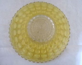 Vintage Ceiling Light Yellow Bubbles Molded Glass