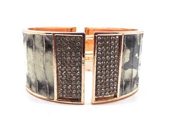 Leather Python and rhinestone bracelet