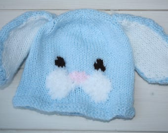 Cute knit hat etsy baby hats hand knitted bunny hat easter gifts baby shower negle Gallery