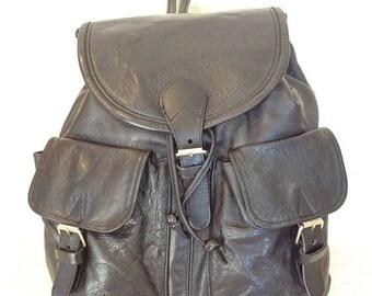 20% SUMMER SALE Vintage black leather backpack rucksack school bag mutli pockets