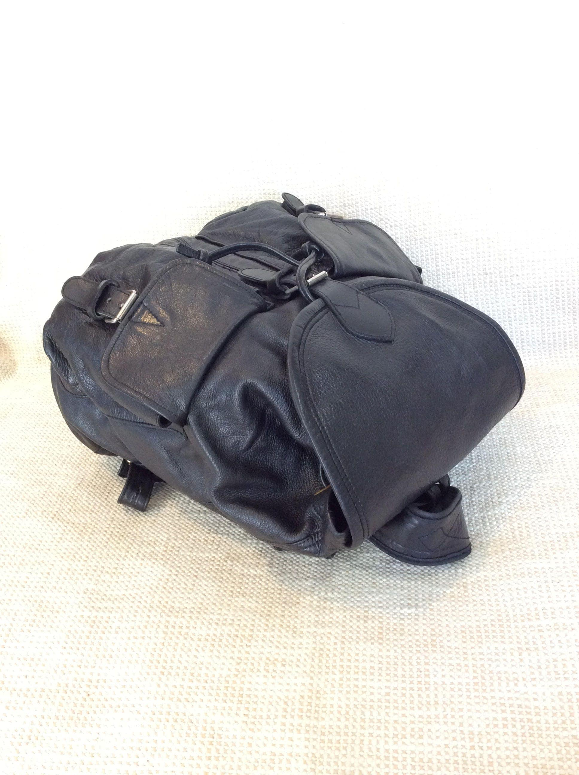 Vintage Black Leather Backpack- Fenix Toulouse Handball 5196c77714889