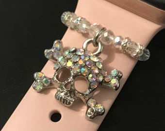 Apple Watch Charm/ Slide on Jewelry/ Accessory/ Rhinestone Encrusted Skull & Cross Bones