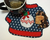 Mug Rug, Ugly Christmas Sweater Quilted Fabric, Coffee Mat, Mini Quilt, Candle Mat, Placemat, Handmade gift for coworker, Ornament Applique