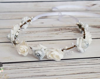 Handcrafted White and Lightest Blue Pearl Flower Crown - Adult Flower Crown - Bridal Rose Flower Crown - Spring Wedding Hair Wreath - Fancy