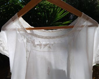 Antique White Embroidered Cotton Tulle  Nightgown Monogram Antique French Sheer Shirt Large XLarge #sophieladydeparis