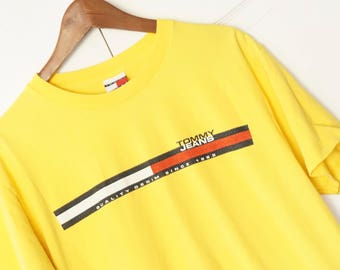 Tommy Hilfiger Vintage Button Down Yellow Colorblock Shirt Size Large 80s 90s