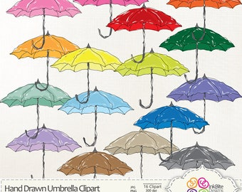 Colourful Hand Drawn Umbrella Clipart, Digital Clip art, Umbrella Clipart,  instant download Bright, Fun, Pretty