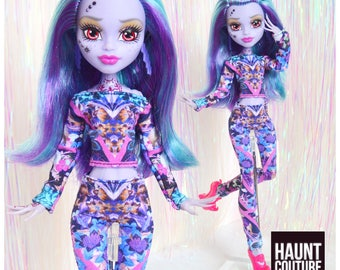 """Monster Doll Haunt Couture 2017 """"Swish Swish, Whisp"""" high fashion doll clothes overalls"""
