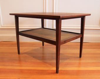 Mid Century Modern Danish Teak and Cane End Table