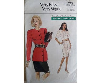 """Vintage 80's Vogue #7406 Round Neck tailored Dress Jacket and Skirt Suit 3 Sizes UK 12 14 16 Bust 34"""" 36"""" 38"""""""