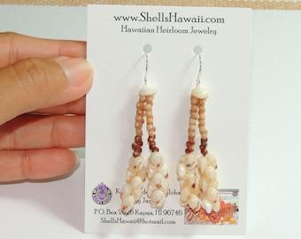 """1 7/8"""" Double strand Kahelelani & Momi shell earrings #208"""