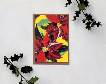 Poppy Poinsettia on Yellow Christmas Card-  Welsh Language, Glossy cardstock, Orginal Artwork