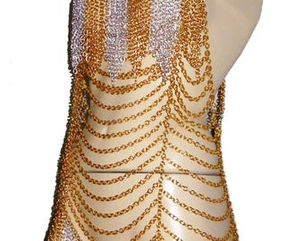 Chainmail Dress, Body chains / Silver and Gold