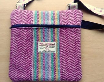 Harris Tweed and Linen Panelled Cross Body Bag, in Gorgeous Pinks and Mixed Colours, with External Zip Mobile Pocket & Adjustable Strap
