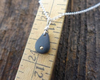 Beach stone and brass necklace 6