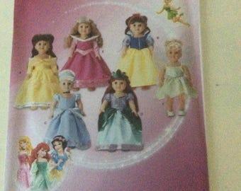 "Simplicity 1581 Disney American Girl 18"" Princess Doll Clothes Pattern - new - uncut"