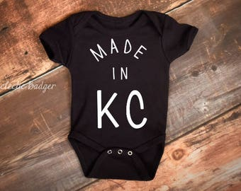 Baby outfit, baby gift, baby bodysuit, KC, Kansas City, made in KC, KC baby, custom, girl clothing, baby shower gift, baby girl clothes