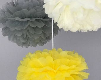 18pcs Mixed Size Grey Yellow Cream Tissue Paper Pom Pom | Wedding Baby Shower Party Engagement Bridal Shower Baptism Decorations