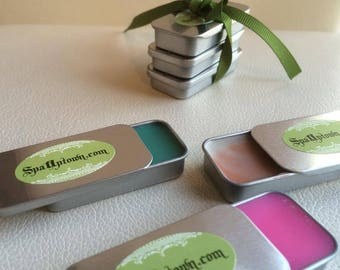 Set of 3 Organic  LIP BALM in a Tin , Collection by SPA Uptown. all Natural, Gift