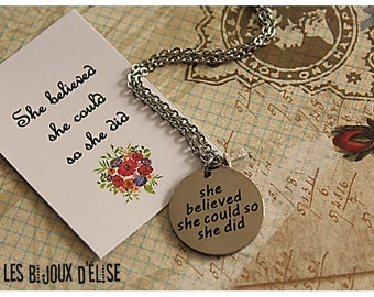 She Believed She Could So She Did Necklace - Stainless Steel (CO48)