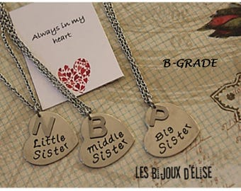Set of 3 Personalized Big Sister Middle SIster and Little Sister Necklace Best Friends Forever Gift B-GRADE - Stainless Steel (CO51)
