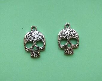 10 Sugar Skull Pendant Charm Silver