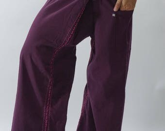 F80069 Hand stitch Unisex Thai fisherman pants, stitch Inseam design for Thai Fisherman Pants Wide Leg pants, Wrap pants