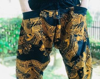 HC0580 samurai pants Handmade pants, Thick Smock Waist Low Crotch, unisex Yoga Harem Pants  - elastic waistband  - Fits all !