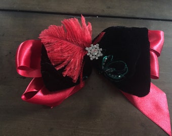 Black Velvet & Feather Hair Bow Clip Cosplay Victorian Lolita Babydoll Red Girls