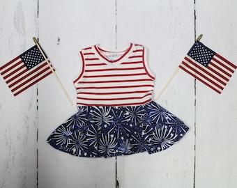 Fireworks! 4th of July Peplum Top, Girls Sleeveless, Tank Top, Tunic, Peplum, Baby, Toddler, Girls Shirt, Red white and blue, Red Stripe