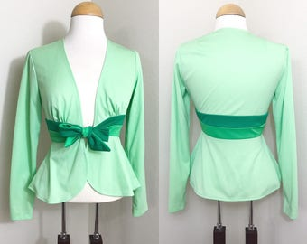 1970s Vintage top / Peplum / Mint / Green / Cover-up / Adorable