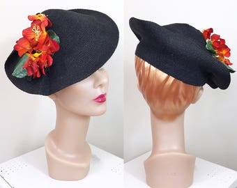 Vintage 1930s Hat / Tilt hat / Gage / Stylized / Flaming flowers / Black