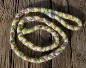 Icelandic Wool Dog Slip Lead in Green, Plum, Cream and a hint of Blue. 5.5 foot Leash Agility Barn Hunt Lure Coursing